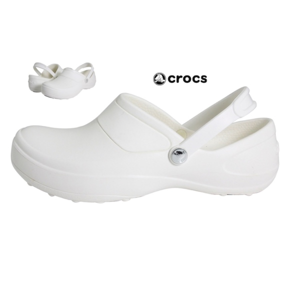 bf4bf68327f52 CROCS Women s WHITE MERCY WORK Slip On Clogs